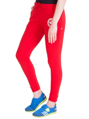 red cotton track pants - 14432450 - Standard Image - 2