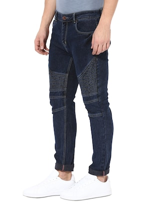 blue cotton blend biker jeans - 14433209 - Standard Image - 2