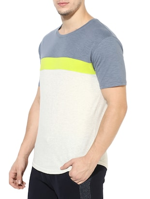 white cotton color block t-shirt - 14433271 - Standard Image - 2