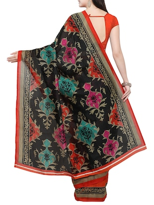 black cotton silk printed saree with blouse - 14433809 - Standard Image - 2