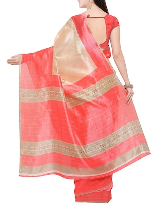 beige cotton silk printed saree with blouse - 14433812 - Standard Image - 2