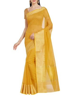 yellow cotton woven saree with blouse