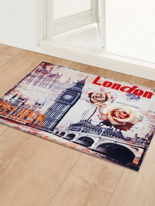 "Story@Home Designer Big Ban Roses Cotton Blend Doormat - 16""x24"", Multicolour - 14435150 - Standard Image - 2"