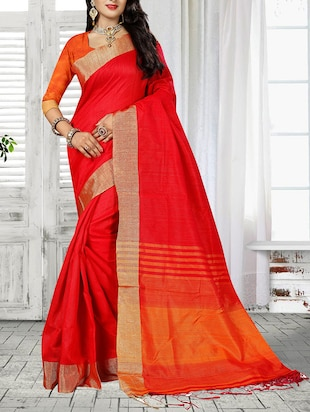 red cotton silk bordered saree
