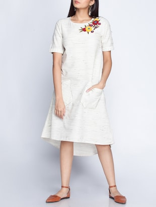 white  assymetric dress
