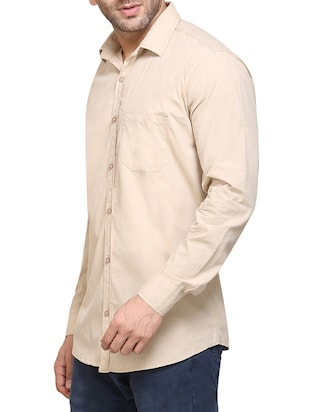 beige cotton casual shirt - 14435312 - Standard Image - 2