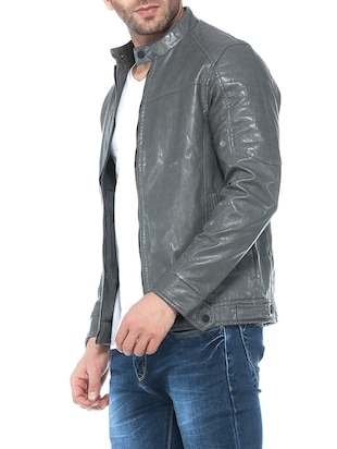 grey faux leather biker jacket - 14435419 - Standard Image - 2