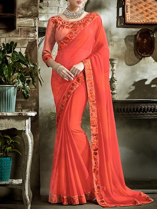 orange bordered saree