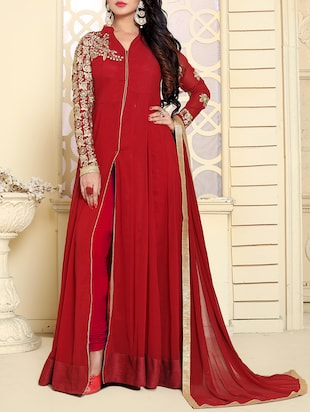 red semi-stitched anarkali suit