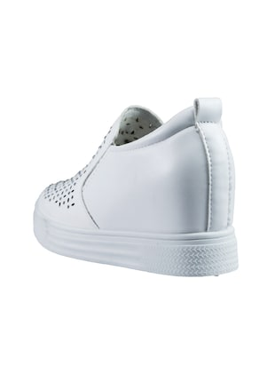 white pu plimsolls casual shoes - 14441091 - Standard Image - 2