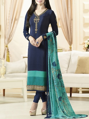 blue faux crepe churidaar unstitched suit