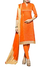 orange cotton embroidered dress material -  online shopping for Dress Material
