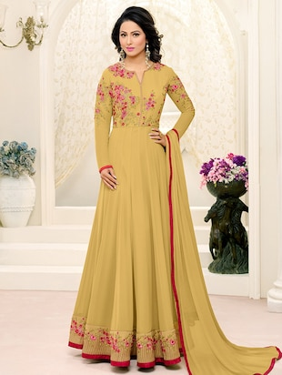 mustard georgette anarkali suits unstitched suit