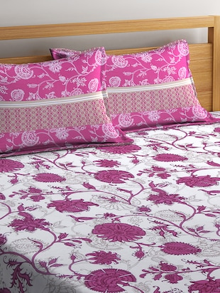 Cotton Bed Sheets For 140 TC Double Bed With 2 Pillow Covers - 14444917 - Standard Image - 2
