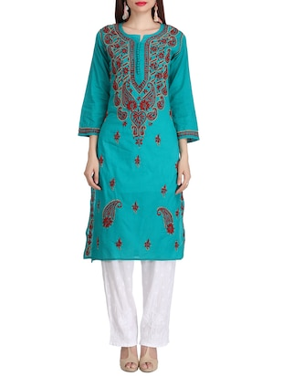 ada blue cotton straight kurta