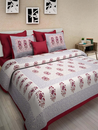 200c6d6ce852 Buy Gangaur Fashion Red Colour Floral Print 1 Double Bedsheet With 2 Zipper  Pillow Covers for Unisex from Gangaur Fashion for ₹899 at 40% off | 2019 ...