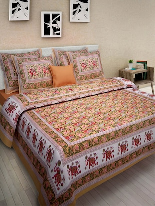 Pure Cotton Rajasthani Traditional Double Bed Sheet  With 2 Pillow Covers