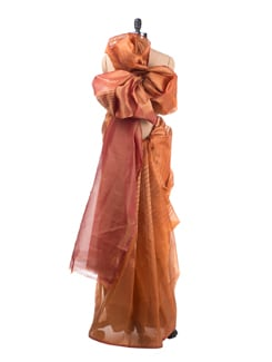 Rust Kora Silk Saree - Saboo
