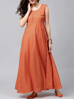 Orange printed A-line dress
