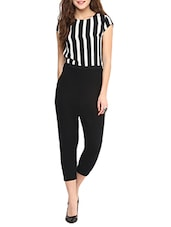 black striped 3/4 jumpsuit -  online shopping for Jumpsuits