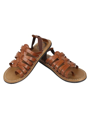 brown leatherette back strap sandals - 14454642 - Standard Image - 2