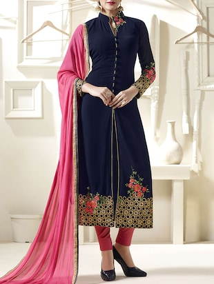 blue faux georgette salwar suit semistitched