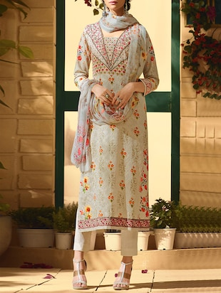 grey poly cotton salwar suit semistitched