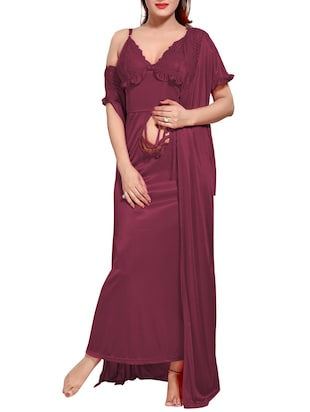 purple colored robe & nighty set - 14455174 - Standard Image - 2