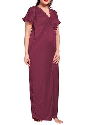 purple colored robe & nighty set - 14455174 - Standard Image - 8