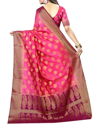 pink nylon woven saree with blouse - 14456617 - Standard Image - 2