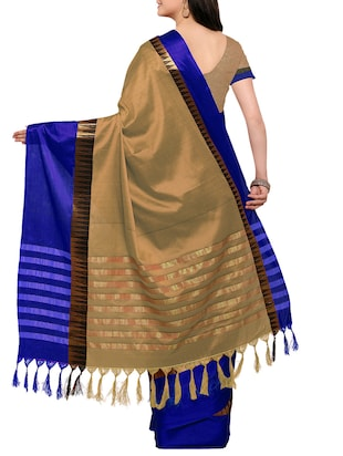 Biege Cotton Silk Bordered Saree with blouse - 14456858 - Standard Image - 2