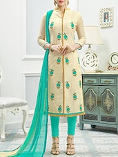 Beige Silk Blend Embroidered Unstitched Dress Material -  online shopping for Dress Material