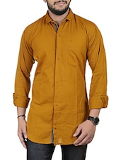 mustard linen casual shirt -  online shopping for casual shirts