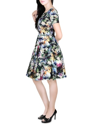 blue printed fit & flare dress - 14457220 - Standard Image - 2