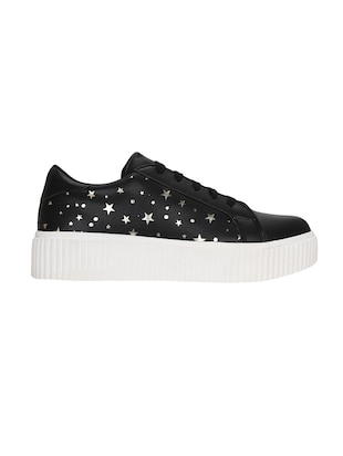 black faux leather laceup sneakers - 14457884 - Standard Image - 2