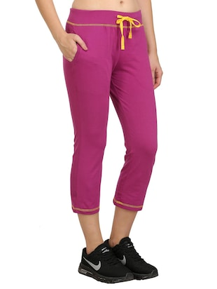 Purple cotton blend sports capri - 14457912 - Standard Image - 2