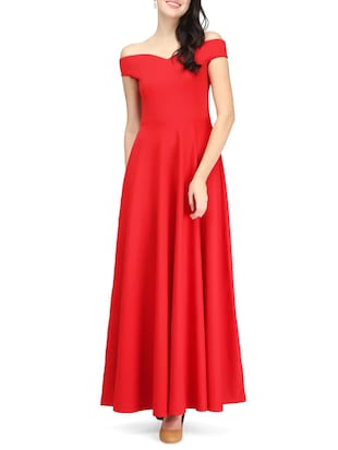 Red off shoulder gown dress