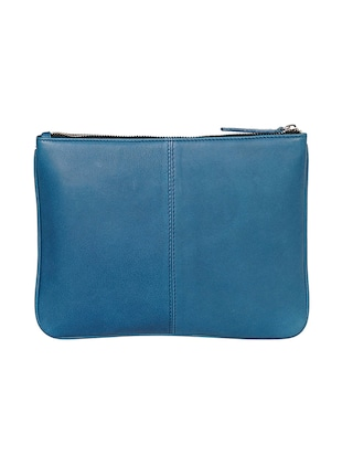 blue leather regular pouch - 14461342 - Standard Image - 2