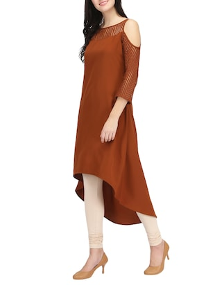 brown crepe highlow kurta - 14461846 - Standard Image - 2