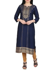 blue rayon block printed straight kurta -  online shopping for kurtas