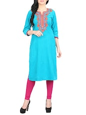 blue corduroy embroidered straight kurta -  online shopping for kurtas