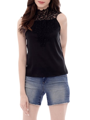 solid black chiffon top -  online shopping for Tops
