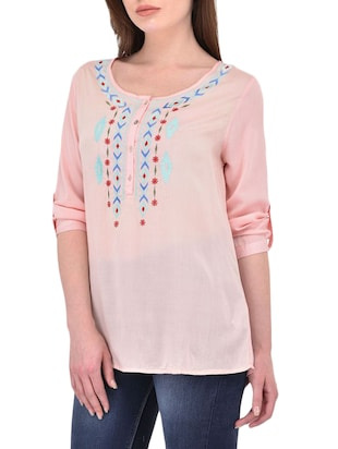 pink cotton casual tunic - 14464343 - Standard Image - 2