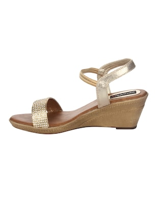 gold faux leather back strap wedges - 14465179 - Standard Image - 2