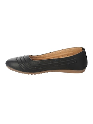 black faux leather slip on ballerina - 14465645 - Standard Image - 2