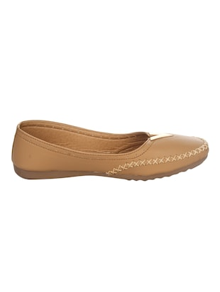 tan faux leather slip on ballerina - 14465649 - Standard Image - 2