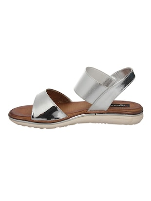 silver faux leather back strap sandals - 14465685 - Standard Image - 2