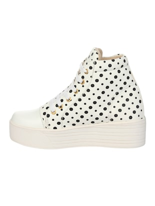 white faux leather laceup sneakers - 14465703 - Standard Image - 2