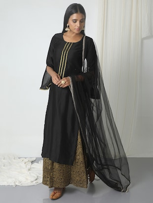 truebrowns black chanderi skirt suit - 14465735 - Standard Image - 2
