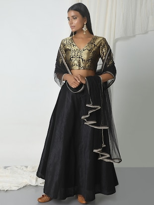 black dupion flared lehenga